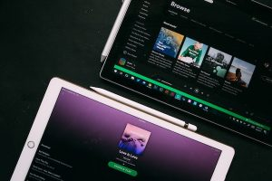 Spotify app on computer and tablet