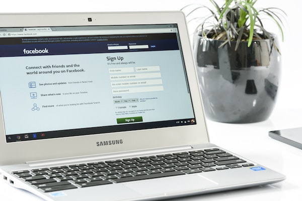 image of facebook on a laptop